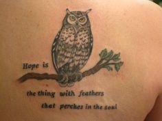 Emily Dickinson & Owl hope tat