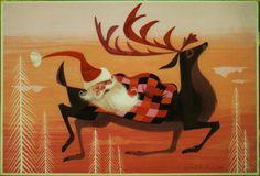 Vintage Ralph Hulett Christmas Card ~ Orange Highlights