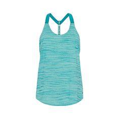 Nike Heather Elastika T-back tank ($32) ❤ liked on Polyvore featuring activewear, activewear tops, nike activewear, nike and nike sportswear