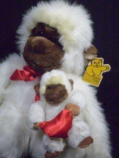 "Goffa Plush Mommy Mother & Baby Monkey Large 15"" White Ape Gorilla w/Tag  #Goffa"
