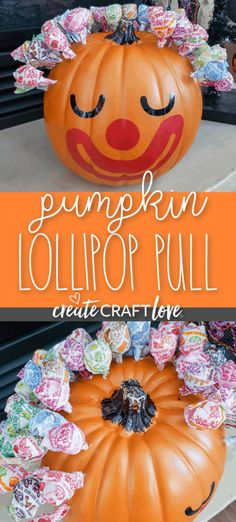 Whether you are in charge of the Halloween carnival or just want something fun for the trick or treaters, this Pumpkin Lollipop Pull is so easy to make! #halloween #halloweencraft