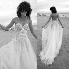Simple Beach Wedding Dresses Summer 2016 Sexy Sheer Sweetheart Backless Lace Appliques Tulle Sweep Train Bridal…