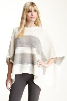 Striped knit poncho, grey jeans