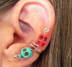 Non Pierced Skulls Ear Cuff  Halloween Dia by ArianrhodWolfchild, $10.00
