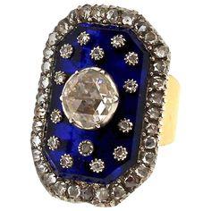 Antique Victorian Rose Cut Diamond Blue Glass Panel Gold Ring 1