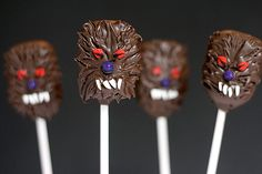 Werewolf cake pops  or chocolate covered marshmallows