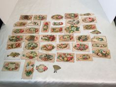 Antique Victorian Hidden Name Calling Cards Set of 32 Complete Few Extra Pieces