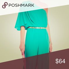 """BCBGMAXAZRIA """"LEEO"""" Emerald-colored Jumpsuit BCBG MaxAzria Emerald-color One shoulder Jumpsuit. New with tag! BCBGMaxAzria Pants Jumpsuits & Rompers"""