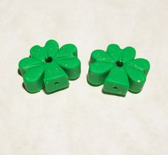 Shamrock Polymer Clay Beads Small Size with Matte Finish - Vertical Hole by BarbiesBest on Etsy