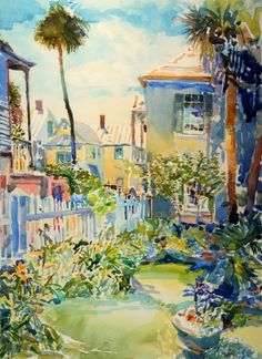 St Augustine, architecture, colorful, Robert Leedy, art, landscape painting, gardens, Florida, watercolor, watercolor, plein air