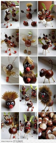 Chestnut Crafts Ideas - Nature Crafts Ideas - Fall Crafts to Make and Sell Kids Crafts, Diy Projects For Kids, Diy For Kids, Diy And Crafts, Craft Projects, Arts And Crafts, Craft Ideas, Autumn Crafts, Nature Crafts