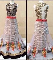Buy white embroidered Net Semi-stitched lehenga-choli ghagra-choli online