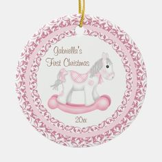 Rocking Horse Girl Baby's First Christmas Ornament - tap, personalize, buy right now! #xmas, #personalized, #baby, #expecting Babys 1st Christmas, Baby First Christmas Ornament, Best Christmas Gifts, Christmas Ornaments, Christmas Recipes, Christmas Holiday, Christmas Decorations, Xmas Cards, Christmas Card Holders
