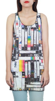 New Video Cassette Tapes Black Tank New Women Lady by TopCloset, $15.99
