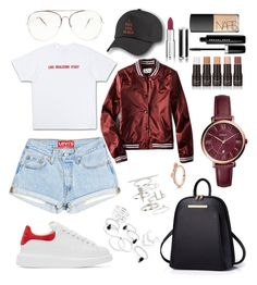 """""""Fresh"""" by madisonkiss on Polyvore featuring Alexander McQueen, American Eagle Outfitters, Topshop, FOSSIL, Givenchy, Marc Jacobs and NARS Cosmetics"""
