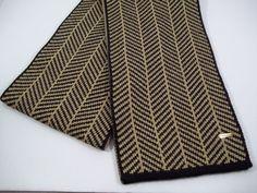 "Calvin Klein Knit Winter Scarf -Tan Black Herringbone w/Gold Metallic- 68"" Long #CalvinKlein #Scarf #AllOccasion"