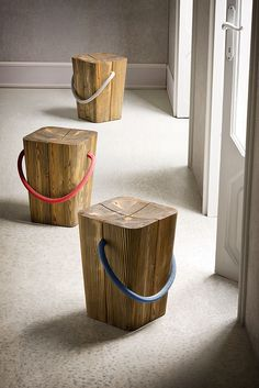Timber stools with rope handles - Studio Emo Design