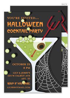 Apple Martini Spooky Style Halloween Invitations