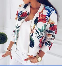 2017 Print Jacket Women Ladies Retro Floral Zipper Up Bomber Jackets Baseball Coat Casual Outwear