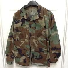 Large Regular Woodland Camouflage Combat Shirt Jacket brown tan green mens $19.99