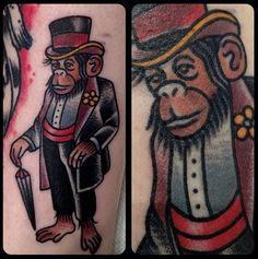 tattoo old school / traditional ink - monkey (by Matt Houston - Vancouver)