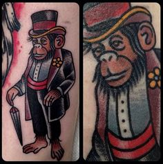 tattoo old school / traditional ink - monkey (by Matt Houston - Vancouver)