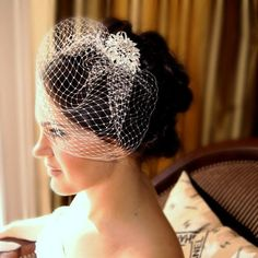 Crystal Head Piece and  White or Ivory Birdcage by FleursdeParis, $69.00