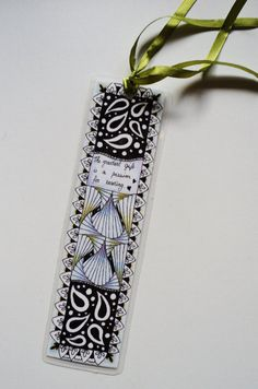 Bookmark zentangled pen and colored pencil by makeartbehappyshop, €5.95