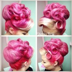 Best Vintage Outfits Part 8 Looks Rockabilly, Rockabilly Hair, Braided Hairstyles For Wedding, Pin Up Hair, Retro Hairstyles, Rainbow Hair, Cool Hair Color, Up Girl, Hair Art
