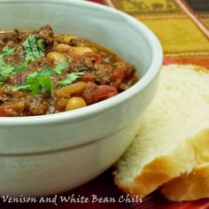 Venison and White Bean Chili #venison #stew #beans