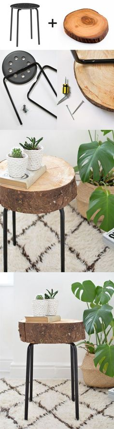 diy hacks home DIY Ikea Hack Wooden Stool.