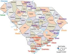 Map of South Carolina Indian Tribes - Traditional Territories