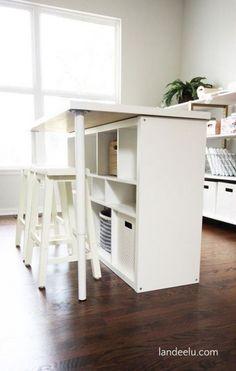 Craft Table Kallax 35 Ideas #craft Diy Ikea Kallax, Ikea Kallax Regal, Kallax Hacks, Kallax Desk, Ikea Desk, Ikea Work Table, Ikea Table Hack, Office Table, Kitchen Island Ikea Hack