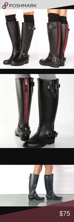 Steve Madden tsunami rain boots red zipper