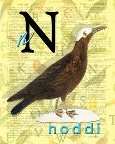 N for NODDI.Alphabet black Noddy Buffon par BerniesArtPrints