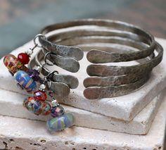 Bangle Bracelet Hammered White Bronze Boro Lampwork by Venbead