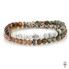 Double Line Nature Beaded Bracelet  #brown #green #jJade #jasper #men #nature #onyx #rhyolite #silver #tigerseye #white #bracalet #doubleline