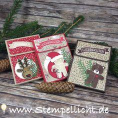 Schokolinsenadventskalenderverpackung mit Ausgestochen weihnachtlich und Designerpapier Zuckerstangenzauber