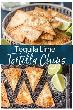 This Tequila Lime Tortilla Chips recipe is an easy way to add extra flavor to chips and dip or nachos. These baked tortilla chips are baked not fried! Lime Tortilla Chips Recipe, Healthy Tortilla Chips, Flour Tortilla Chips, Tortilla Bake, Healthy Chips, Flour Tortillas, Healthy Snacks, New Easy Recipe, Fun Easy Recipes