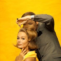 Monique Chevalier getting her hair done by Kenneth of Lilly Dache, July 1962, New York    Photo by Sante Forlano