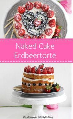 Perfekt für den Muttertag oder andere feierliche Anlässe oder auch zwischendurch: der naked cake als Erdbeertorte mit Schokocreme und Beeren Herz. Der Boden ist ein Wunderkuchen mit Erdbeermilch. Zum Rezept auf das Bild klicken. Torte, Kuchen, Erdbeeren