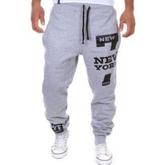 15.26$  Buy here - http://din0b.justgood.pw/go.php?t=142712008 - Stylish Lace-Up Slimming Letter Number Print Beam Feet Polyester Sweatpants For Men 15.26$