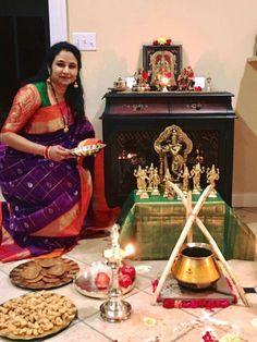 Navaratri pujas and homas invoke the ultimate primordial force Goddess Adi Shakti Housewarming Decorations, Diy Diwali Decorations, Festival Decorations, Flower Decorations, Mandir Decoration, Pooja Mandir, Pooja Room Door Design, Flower Rangoli, Puja Room