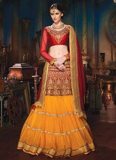 Chic Red N Orange #Net Tiered #Lehenga #Choli