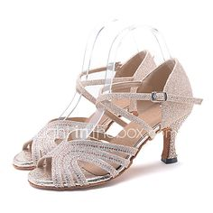 e894a119 Mujer Brillantina Zapatos de Baile Latino / Zapatos de Salsa Pedrería /  Purpurina / Hebilla Sandalia / Tacones Alto Tacón Carrete Personalizables  Rosa ...