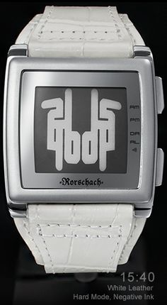 Rorschach watch - White Leather and Stainless steel watch