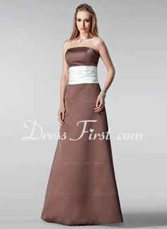 A-Line/Princess Strapless Floor-Length Satin Bridesmaid Dress With Ruffle Sash (007001056)