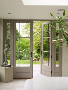 doors with pencil bead design. - Gorgeous Patio Sliding Doors Leading to. -Pair of doors with pencil bead design. - Gorgeous Patio Sliding Doors Leading to. - Urban Contemporary Apartment With Exposed Brick Walls French Patio, French Doors Patio, Exterior French Doors, Exterior Folding Doors, French Doors In Bedroom, Exterior Patio Doors, Door Design, House Design, Roof Lantern