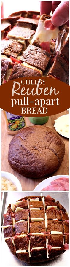 Easy Cheesy Reuben Pull Apart Bread – this one is EPIC! Pumpernickel bread filled with Thousand Island dressing, sauerkraut, corned beef and lots of cheese! Pull apart bread Reuben style!