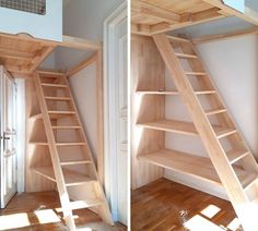 Treppenregale und Regal-Treppen der Tischlerei Hardys Hochbetten Stair shelves and shelf stairs of the carpentry Hardys high beds Tiny House Stairs, Loft Stairs, Lofts, Stair Shelves, High Beds, Loft Room, Attic Rooms, Tiny House Design, Small Spaces